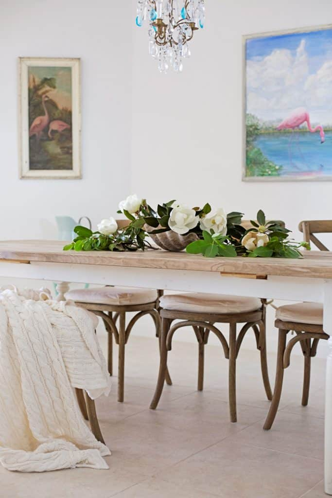 beach tablescape with magnolias