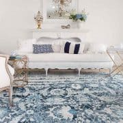 A Gorgeous New Blue Distressed Shabby Chic Rug