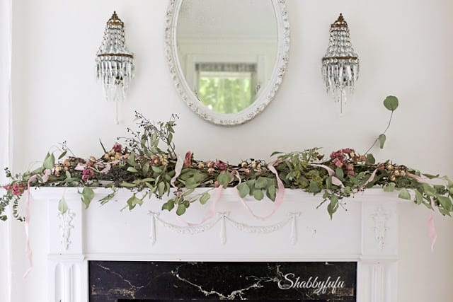 french mantel with floral garland