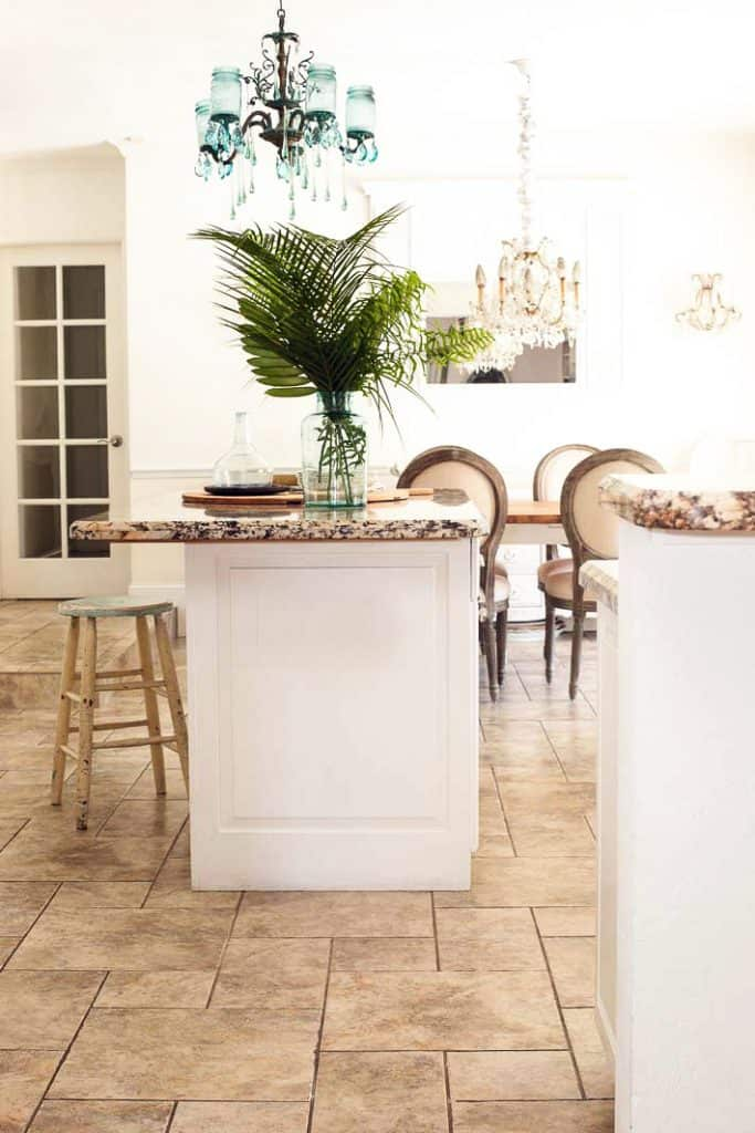 porcelain ceramic floor tile in a white kitchen