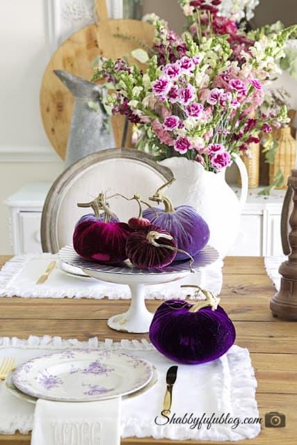 french ironstone plates velvet pumpkins