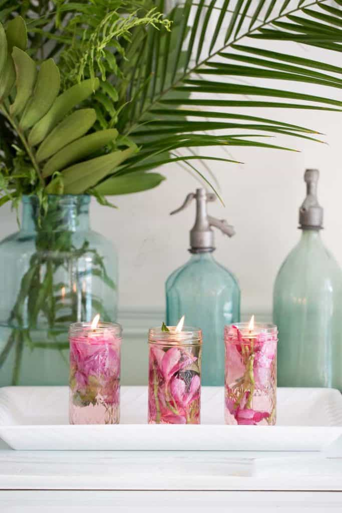 pink candles for summer