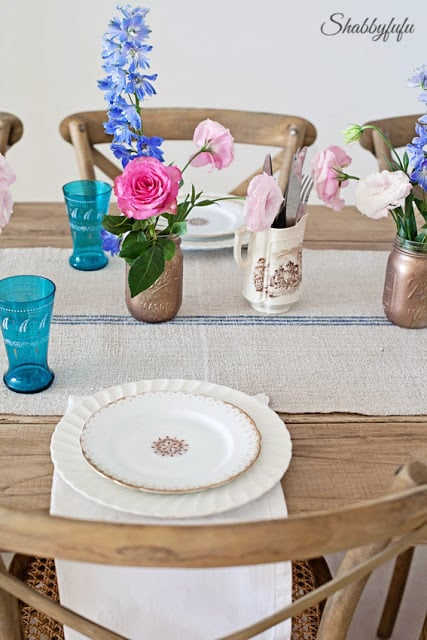 informal table setting with flowers