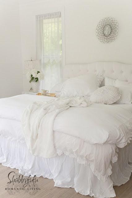shabby chic white bed