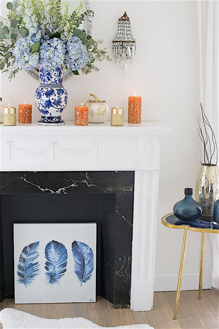 Fall Mantel Decorating Ideas In Blue