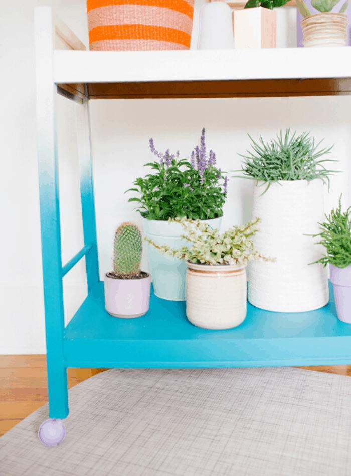 DIY ombre home decor ideas painted blue