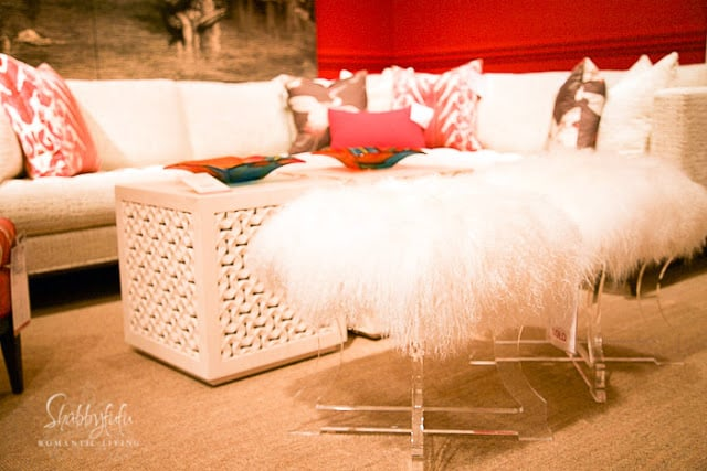 modern lucite and fur bench