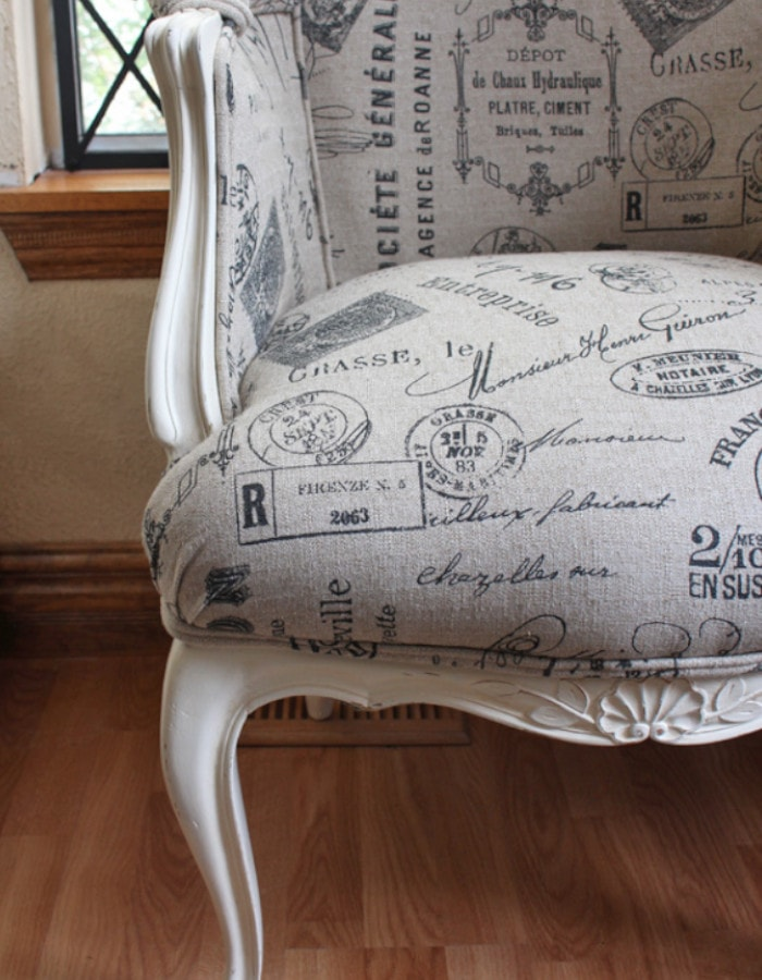 French script chair modern French country decor