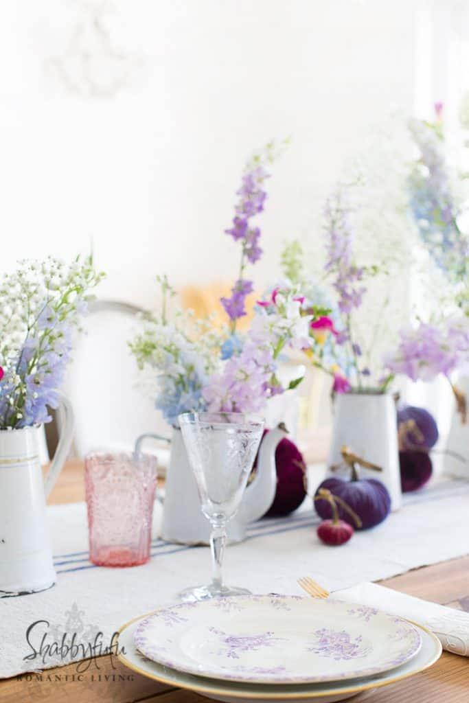 pastel flowers in french enamelware