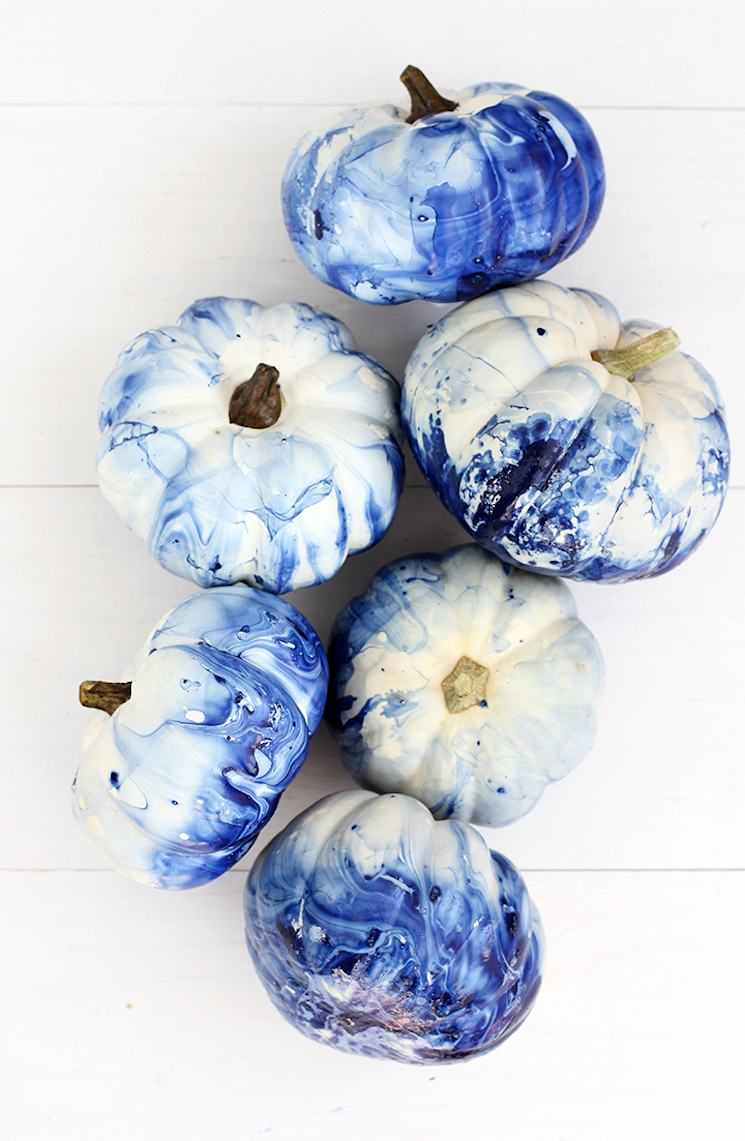 no carve pumpkins marbled