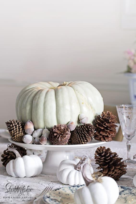 blue cinderella pumpkin centerpiece