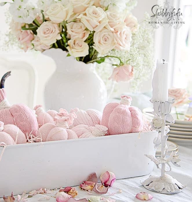 pumpkin centerpiece pink pumpkins