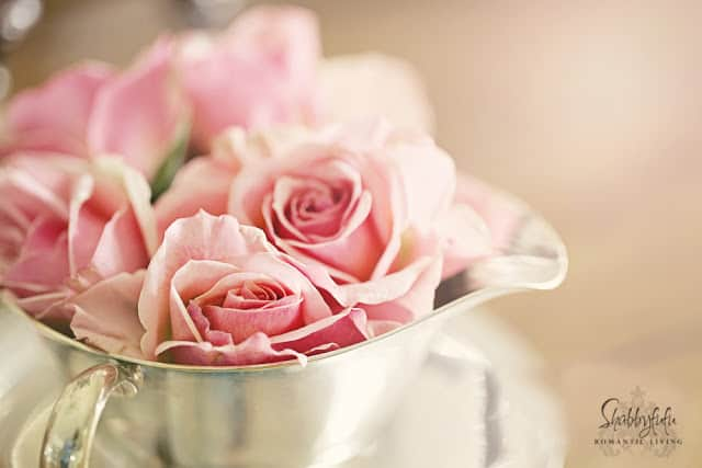pink roses in a silver creamer