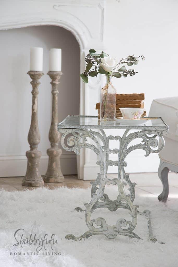 white iron garden table