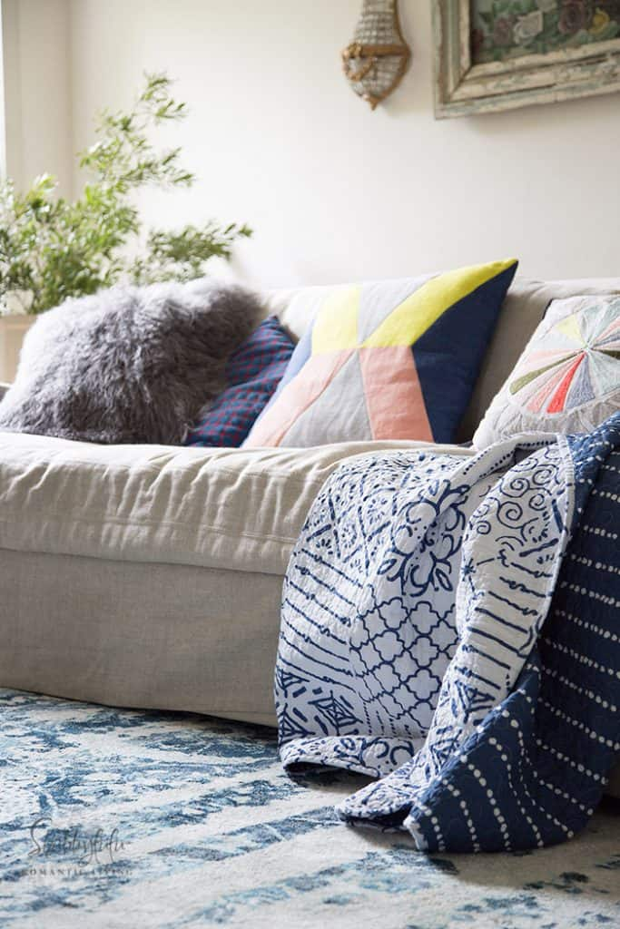 sofa with modern boho pillows