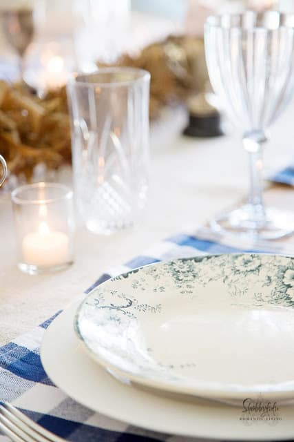 Blue and white buffalo check placemat and french dinner plates