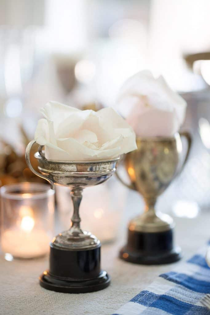 vintage trophy cup with blush roses