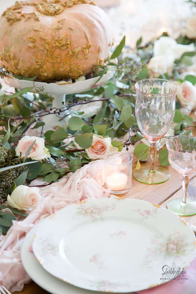 blush pink table decor feminine chic