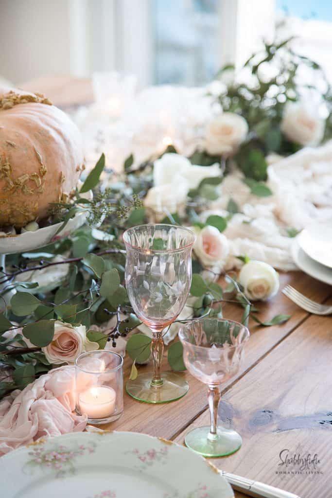 blush pink table decor antique pink goblets