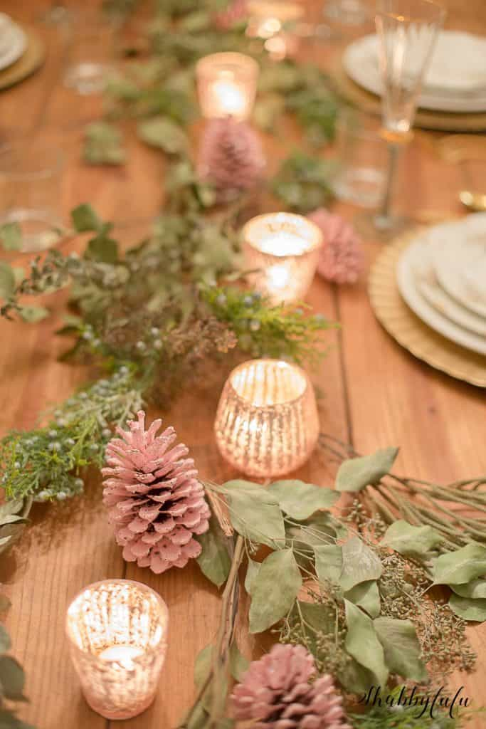 flat lay tablescape christmas