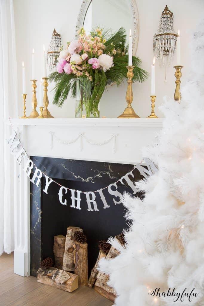 christmas mantel modern pink peonies