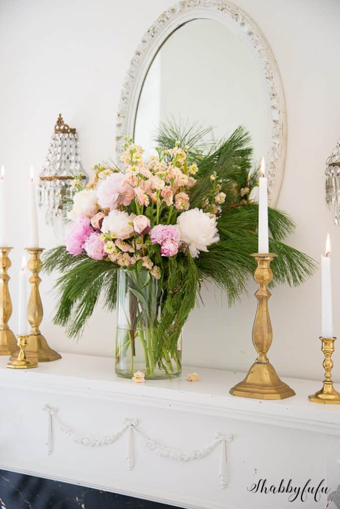 metallic candlesticks peonies