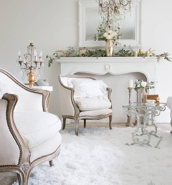 french country white living room - transition to winter decorating