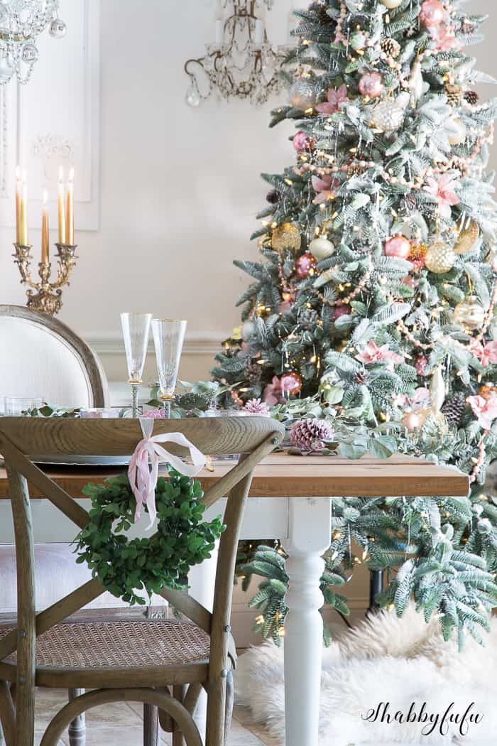Elegant Blush Pink on the Dining Room Holiday Tree