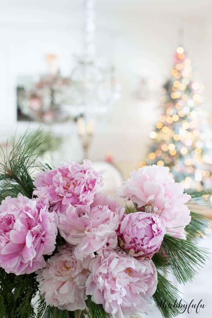pink peonies christmas decorating