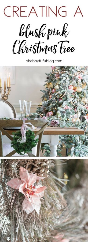 Elegant blush pink on the dining room holiday tree for Bacon christmas tree decoration