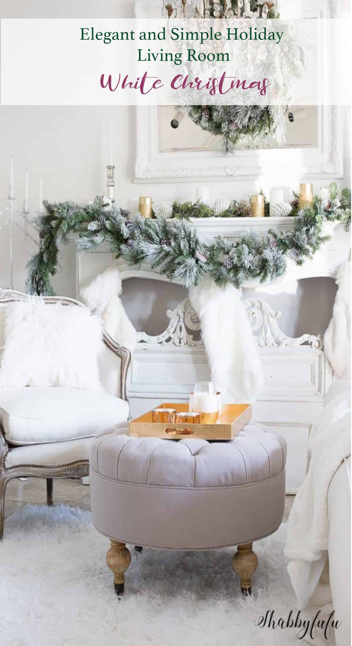 Elegant and Simple Christmas Living Room in White - shabbyfufu.com
