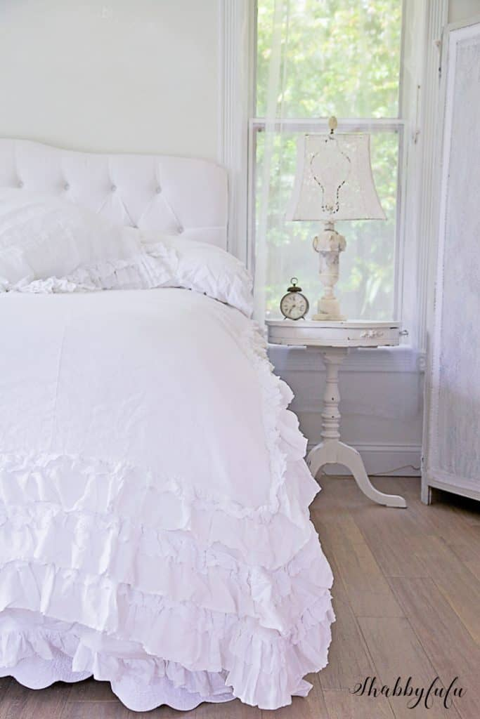 white duvet with ruffles - transition to winter decorating