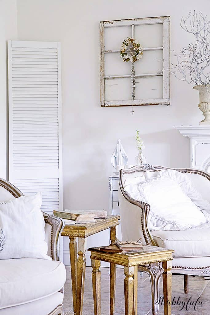 french living room in white transition to winter decorating