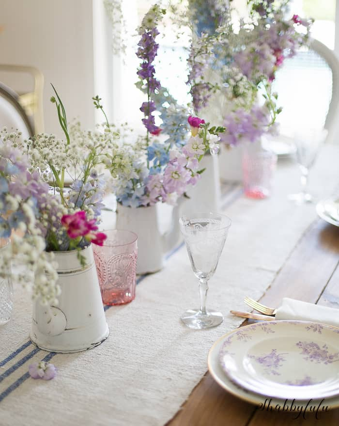 french country cottage tablesetting with flowers