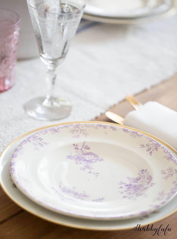 antique purple dinner plates
