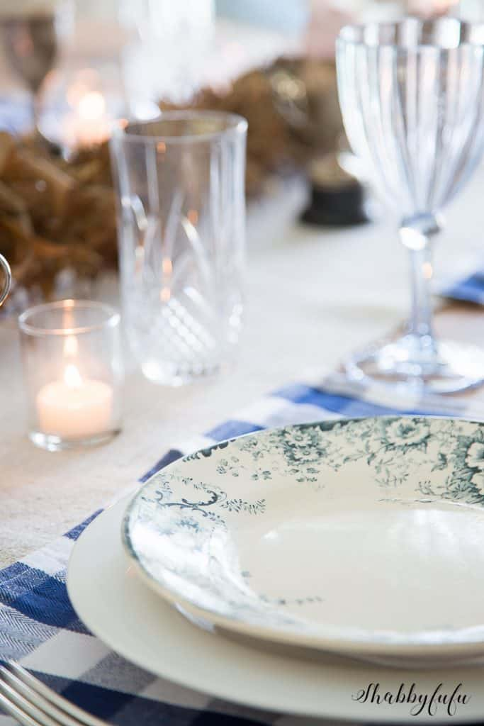 french faience blue and white dinner plate