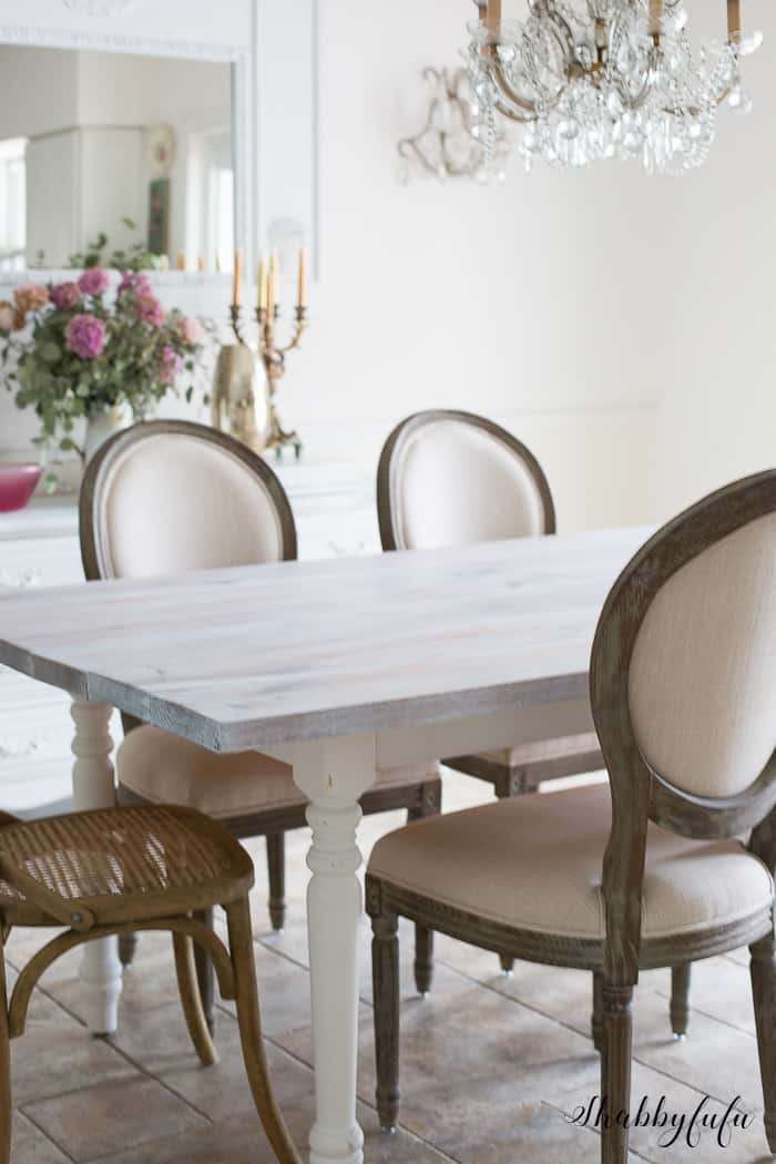 what kind of paint to use on dining room table | Whitewashing A Farmhouse Table In 30 Minutes - shabbyfufu.com