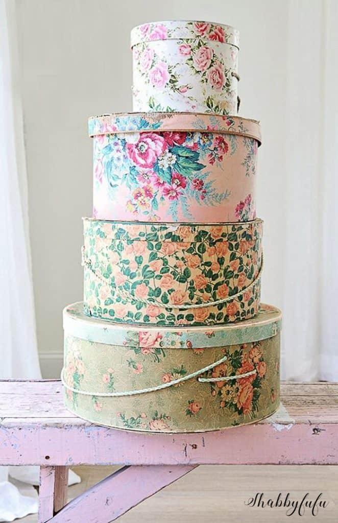 DIY storage bins round shape floral prints