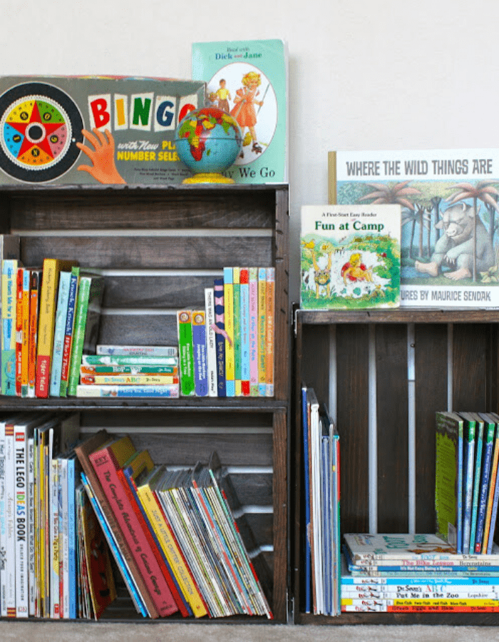 Crate bookshelf with children's books