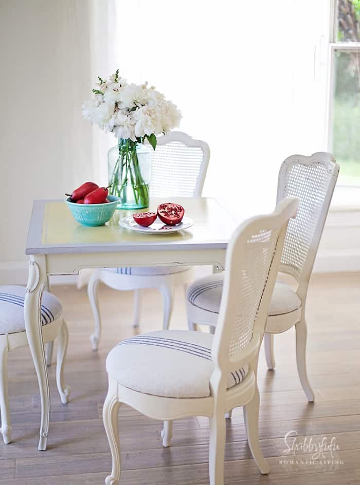 french caned chairs with ticking