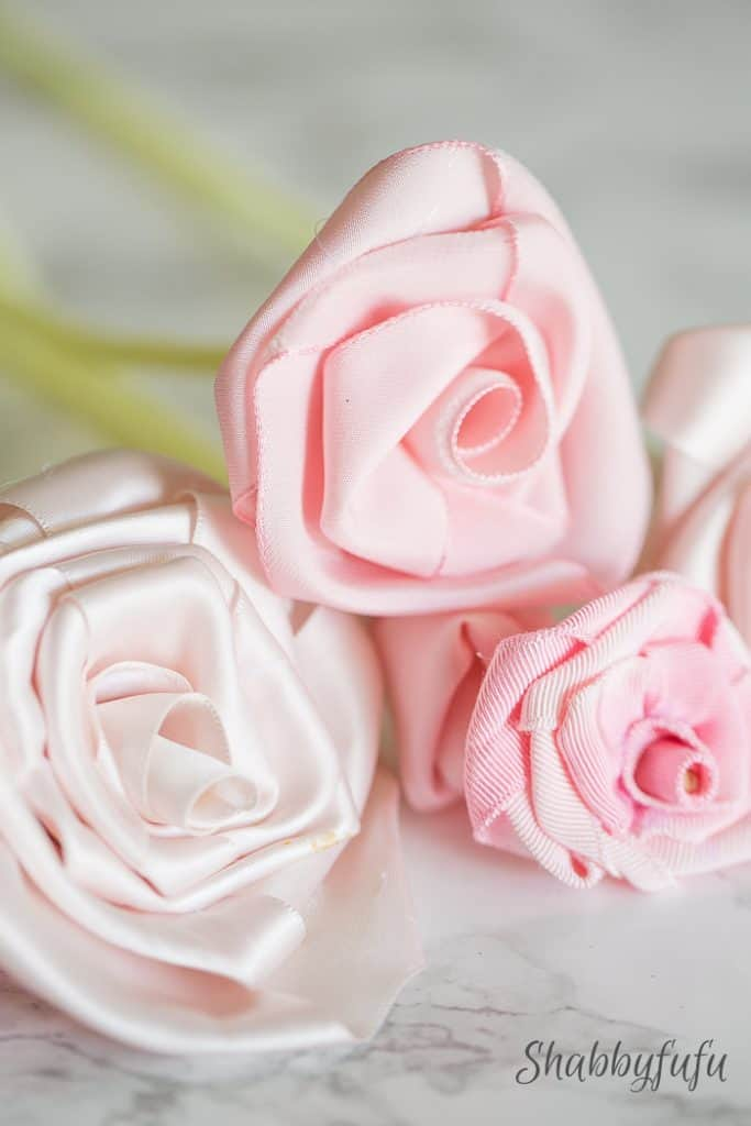 blush pink ribbon roses