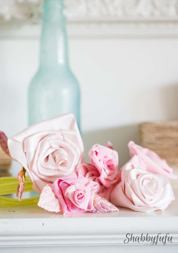blush pink ribbon rose arrangement