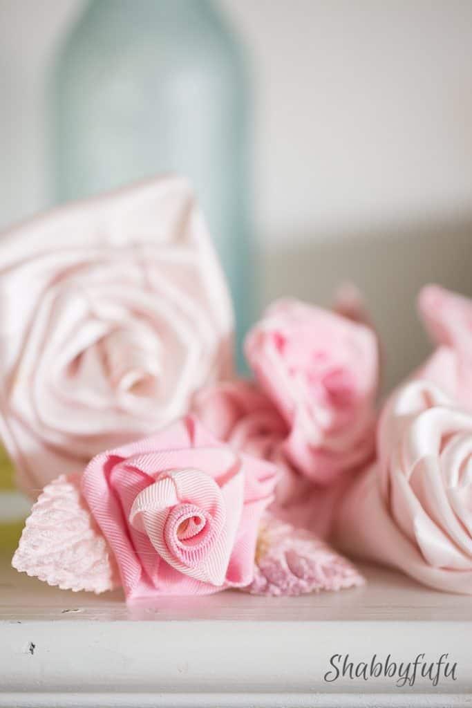 display of ribbon roses