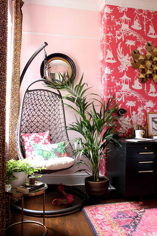 boho chic pink office - decorate a room with blush pink