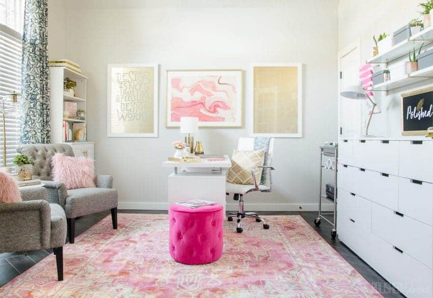 feminine pink office ideas - decorate a room with blush pink