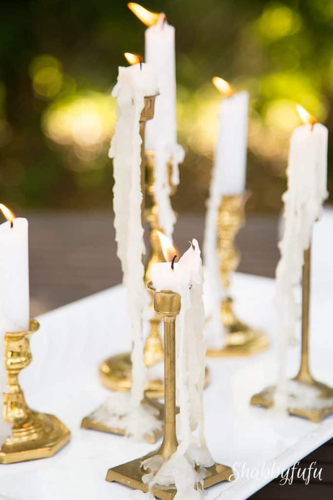 dripping candles in romantic style home decorating