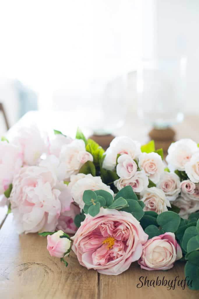 pretty silk blush pink peonies- decorate a room with blush pink