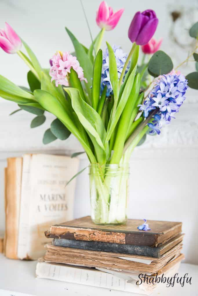 old tattered books and flowers