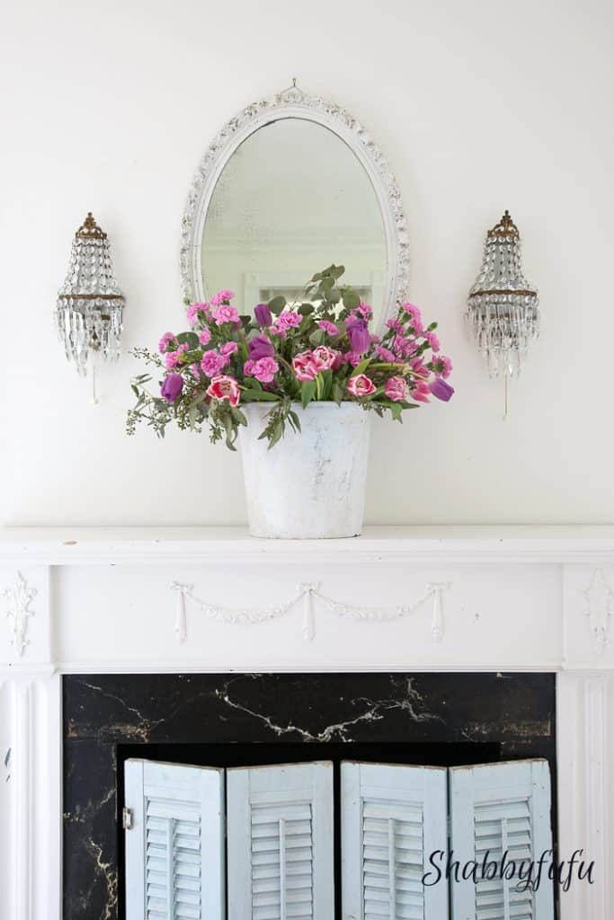french country cottage mantel with flowers