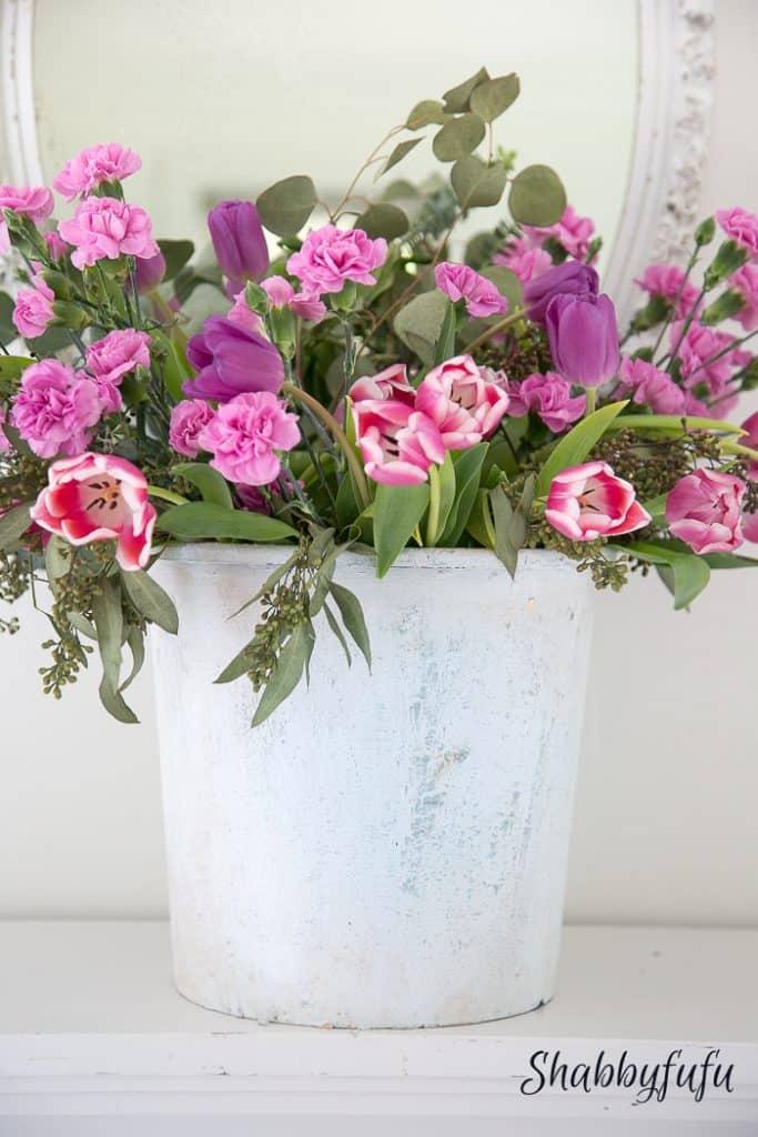 flower bucket of tulips